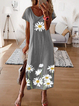 Floral Boho Maxi Casual Crew Neck Vintage Short Sleeve Shift H-lined Dresses