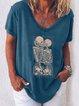 Blue V Neck Cotton-Blend Short Sleeve Shirts & Top