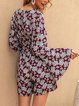 Claret_Red Shift Sweet Floral Long Sleeve One-Pieces