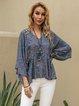 Blue Cotton-Blend Boho Shirts & Tops