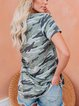 Army Green Casual Camo V Neck T-Shirts
