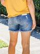 Blue Denim Pockets Simple Shorts
