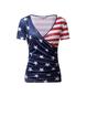 Blue Holiday V Neck Short Sleeve Shirts & Tops