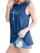 Blue Cotton Crew Neck Floral-Print Holiday Vests