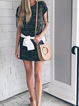 Army Green Casual Short Sleeve Floral-Print Dresses