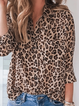 Leopard Long Sleeve V Neck Printed Shirts & Tops