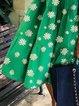 Green Casual Crew Neck Cotton-Blend Dresses