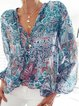 White Printed Long Sleeve Patchwork Shirts & Tops