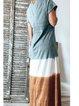 Blue Casual Color-Block Round Neck Cotton-Blend Dresses