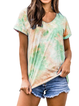 Holiday V Neck Tie Dye Short Sleeve Cotton Shirts & Tops