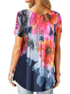 Short Sleeve Floral-Print V Neck Shirts & Tops