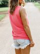 Pink Sleeveless Letter Round Neck Tops