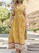 V Neck Yellow  Holiday Maxi Dress