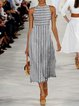 Sleeveless Striped Midi Dress Plus Size Summer Dresses
