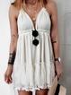 Beige V Neck Casual Cotton Dresses