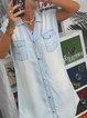 Light Blue Short Sleeve Pockets Dresses