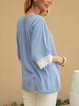 Blue Casual Shift Cotton-Blend Crew Neck Shirts & Tops