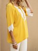 Yellow Casual Cotton-Blend Shift V Neck Shirts & Tops