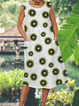 Cotton Blended Pocket Casual Dress Fruit Print Dress