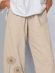 Beige Simple Printed Pants