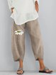 Khaki Printed Casual Cotton Pants