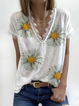 Plus size Floral V Neck Casual Shirts & Tops