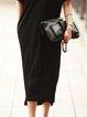 Plus Size Plain Cotton-Blend V Neck Short Sleeve Dresses