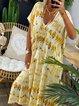 Yellow V Neck Short Sleeve Maxi Casual Dresses