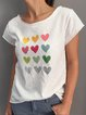 Casual loose summer short sleeve love print T-shirt
