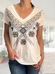 Casual summer v-neck short-sleeved ethnic print T-shirt