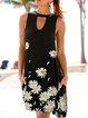 Black Crew Neck Cotton-Blend Sleeveless Floral Dresses