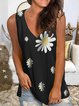 Black Printed Sleeveless Shirts & Tops