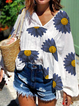 White-Blue Floral Batwing Cotton V Neck Shirts & Tops