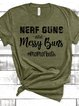 Army Green Crew Neck Short Sleeve Cotton Shirts & Tops