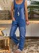 Light Blue Pockets Casual U-Neck One-Pieces