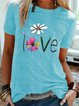 Vintage Short Sleeve Statement Floral Letter Printed Crew Neck Plus Size Casual Tops