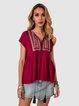 Wine Red Boho Short Sleeve Shirts & Tops