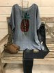 Casual vintage bat sleeve round neck linen cotton printed top