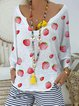 Casual loose ultra-thin knitted strawberry printed holiday V-neck top