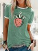 Casual simple short sleeve summer fruit print T-shirt
