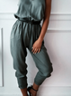 Army Green V Neck Casual One-Pieces