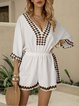 Off White Cotton-Blend Holiday One-Pieces