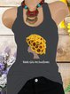 Vintage Sleeveless Sunflowers Letter Printed Crew Neck Plus Size Casual Vest Tops