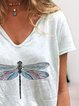 Women Dragonfly Short Sleeve Casual T-Shirts