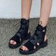 Artificial Suede Gladiator Sandals Lace Up Cut Up Summer Booties