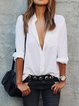Casual Plain V-neck Long Sleeve Blouse