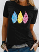 Printed Short Sleeve Cotton-Blend Round Neck Shirts & Tops
