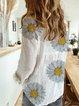 White Long Sleeve Cotton V Neck Printed Shirts & Tops