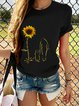 Black Casual Floral Cotton-Blend Shirts & Tops