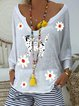 Casual loose ultra-thin knitted printed holiday V-neck top